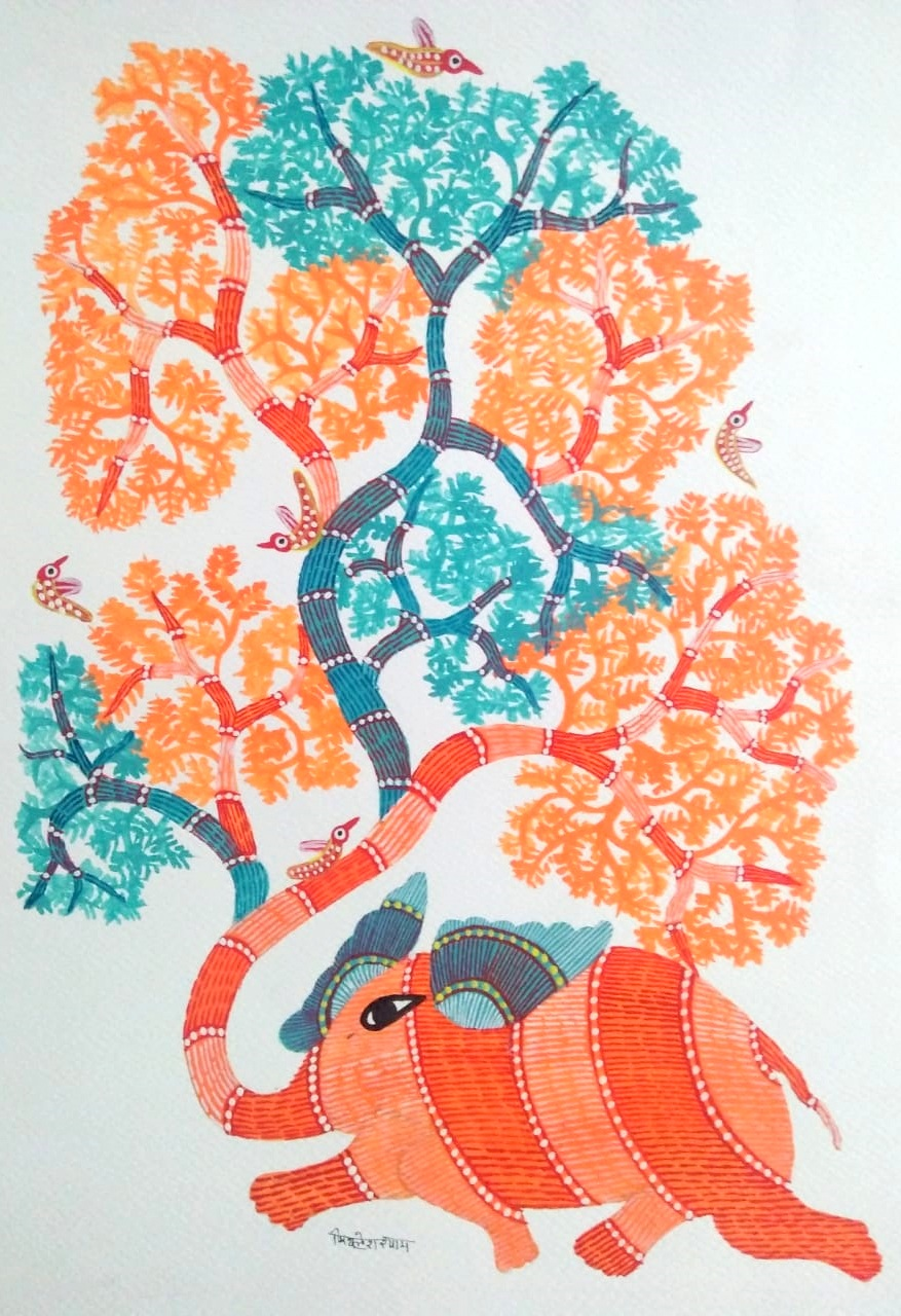 Happy Elephant Gond Art