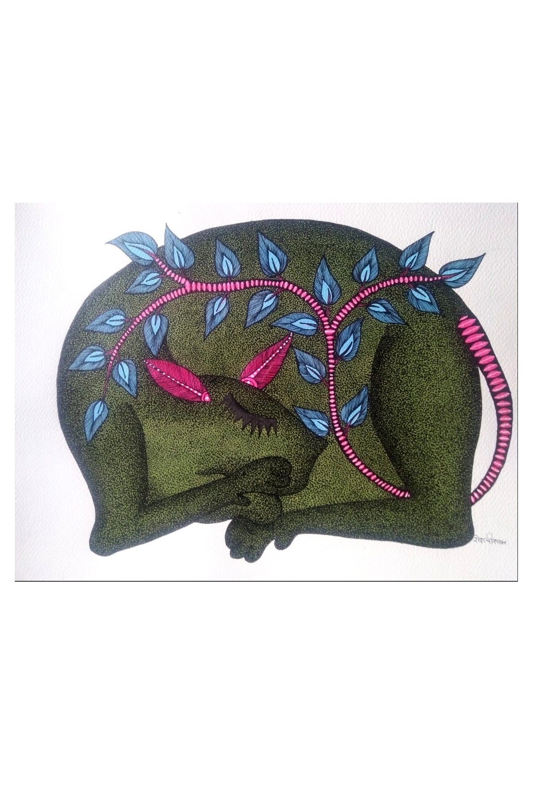 Leopard Tail Gond Art