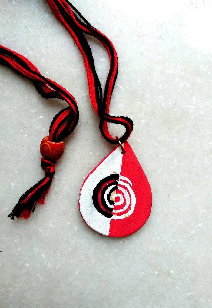 White and Red Handpainted Dropshaped Wood Pendant