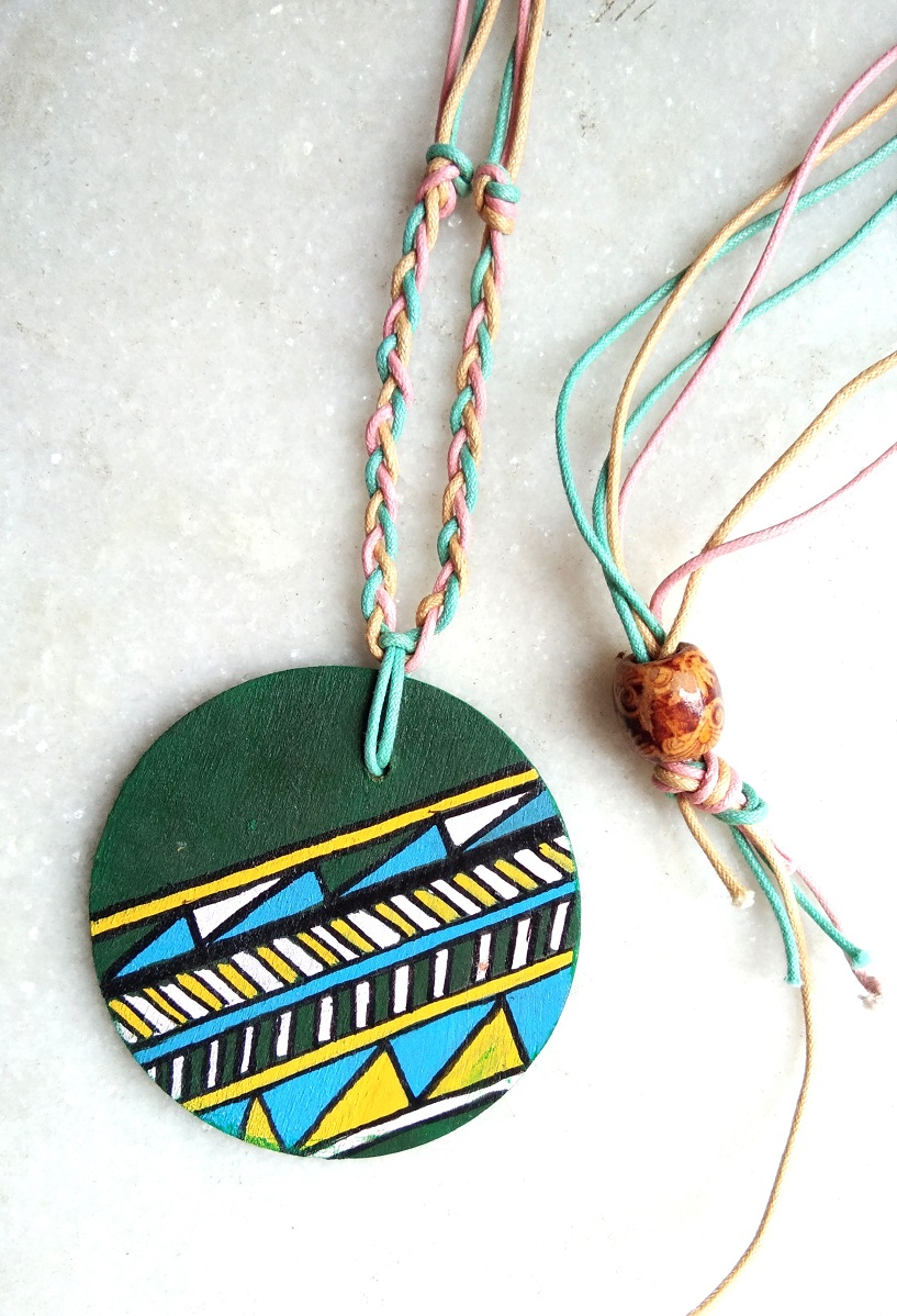 Green Handpainted Wood Pendant