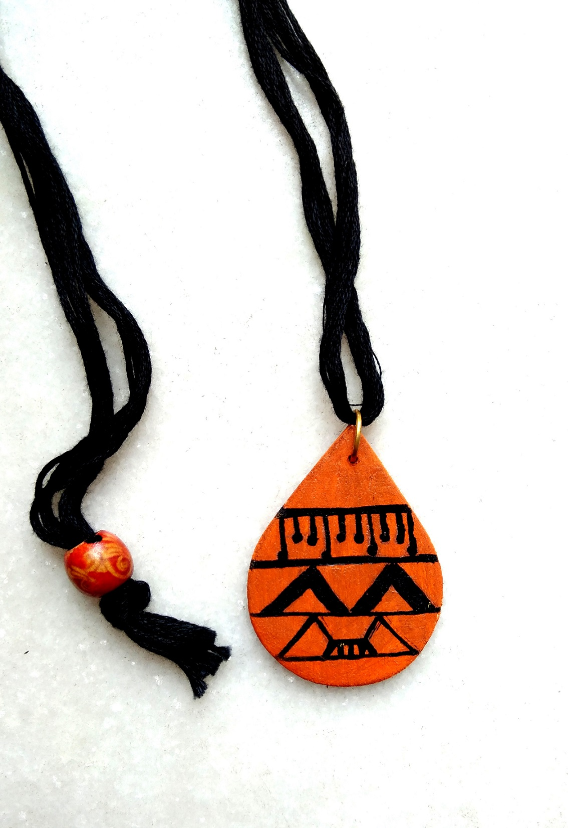 Tribal Orange Dropshaped Handpainted Wood Pendant