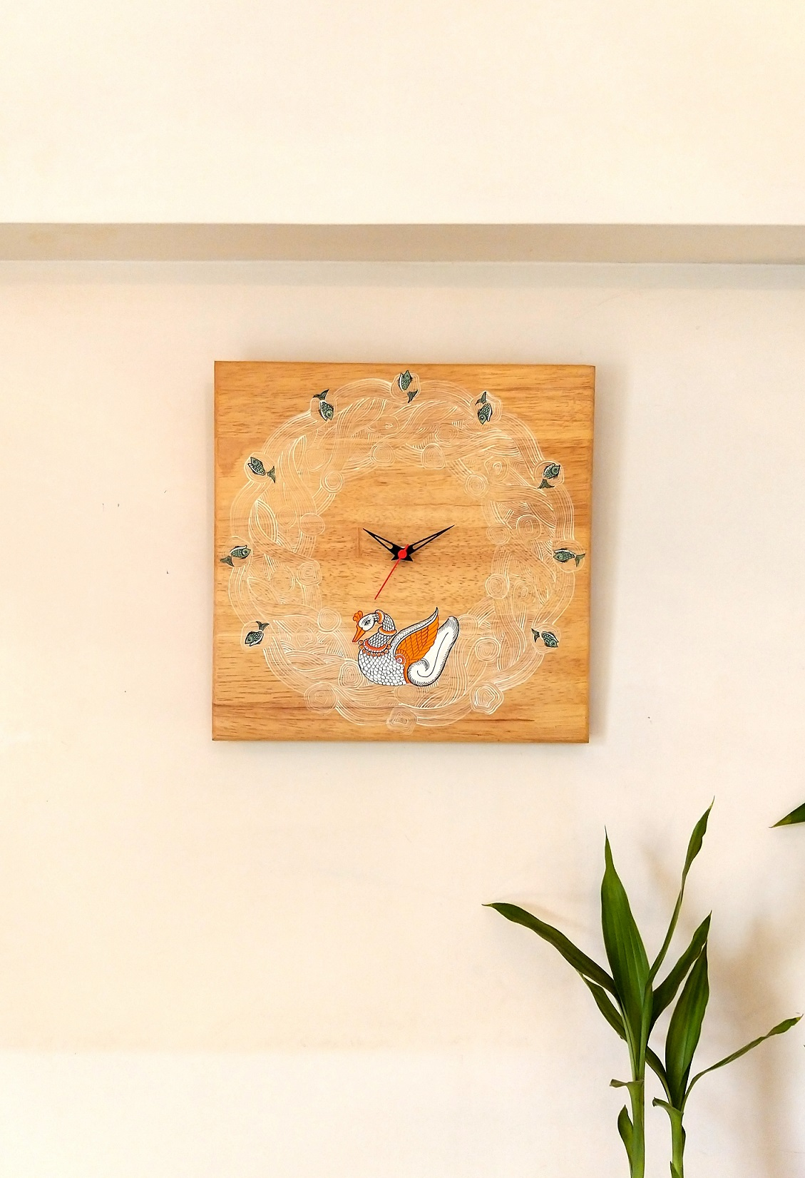 Swans in a Pond Pattachitra Wall Clock