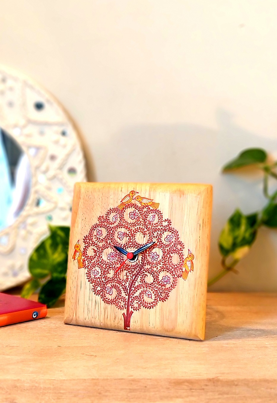 Tree of Life Pattachitra Table Clock