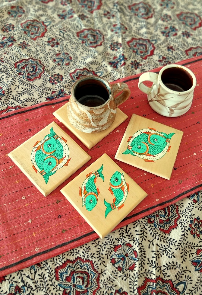 Matsya Wood Square Coasters in Pattachitra - Set of 4