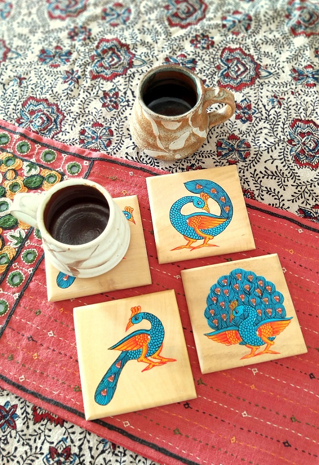 Dancing Peacocks Square Wood Coasters in Pattachitra - Set of 4