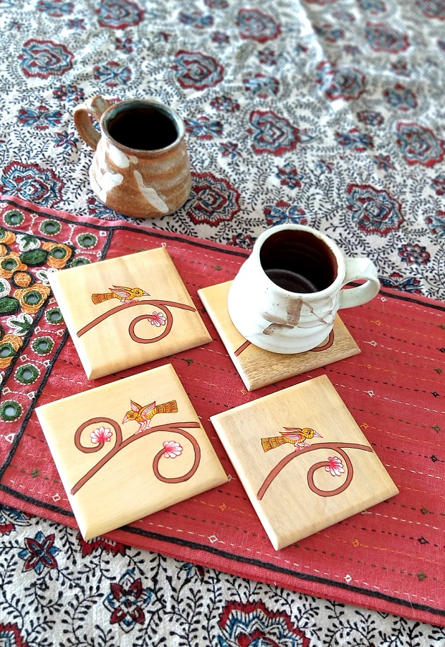 Yellow Chirping Bird in Pattachitra - Set of 4 Wood Coasters