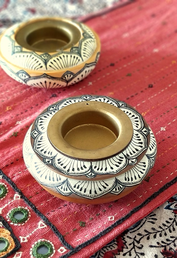 Pattachitra Painted Tealights in Wood