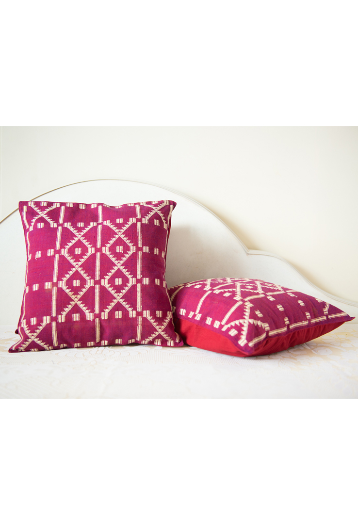 Purple Kutch Weave Cushion Covers - Set of 2
