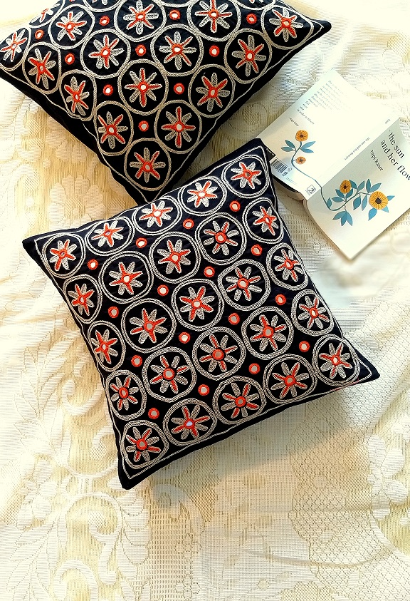 Black Mirrorwork Hand embroidered Square Cushion Covers - Set of 2