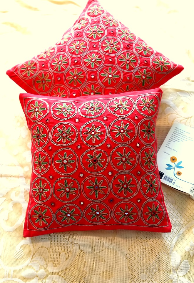 Red Mirrorwork Hand embroidered Square Cushion Covers - Set of 2