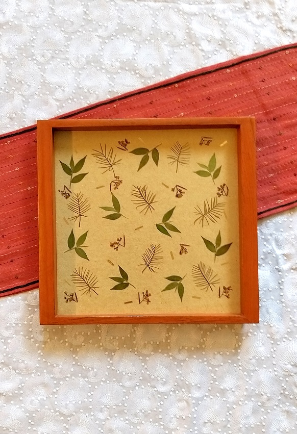 Beige Forestfairies Wood and Handpressed Leaves  Square Tray