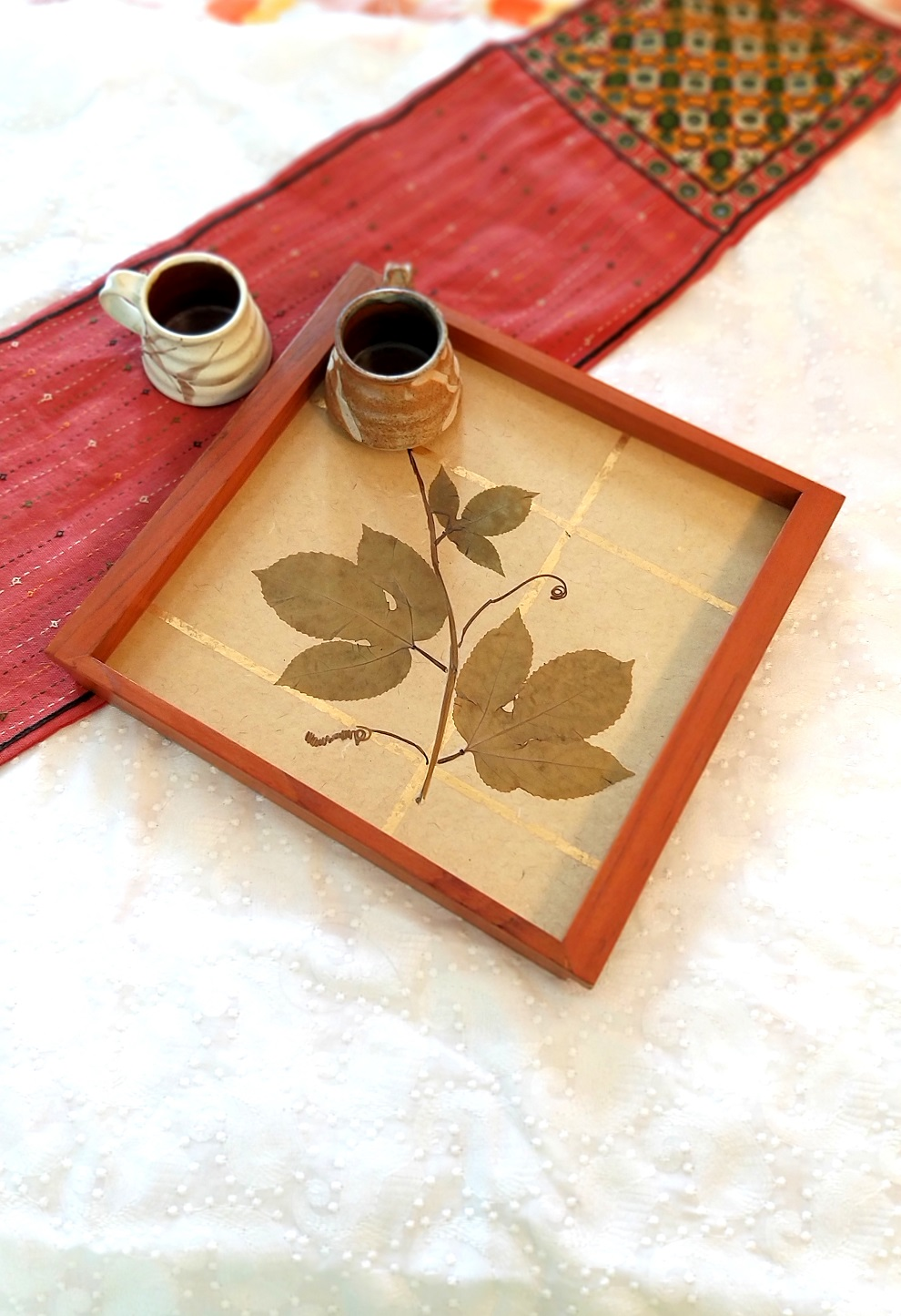 Golden Vines Wood and Handpressed Leaves Tray