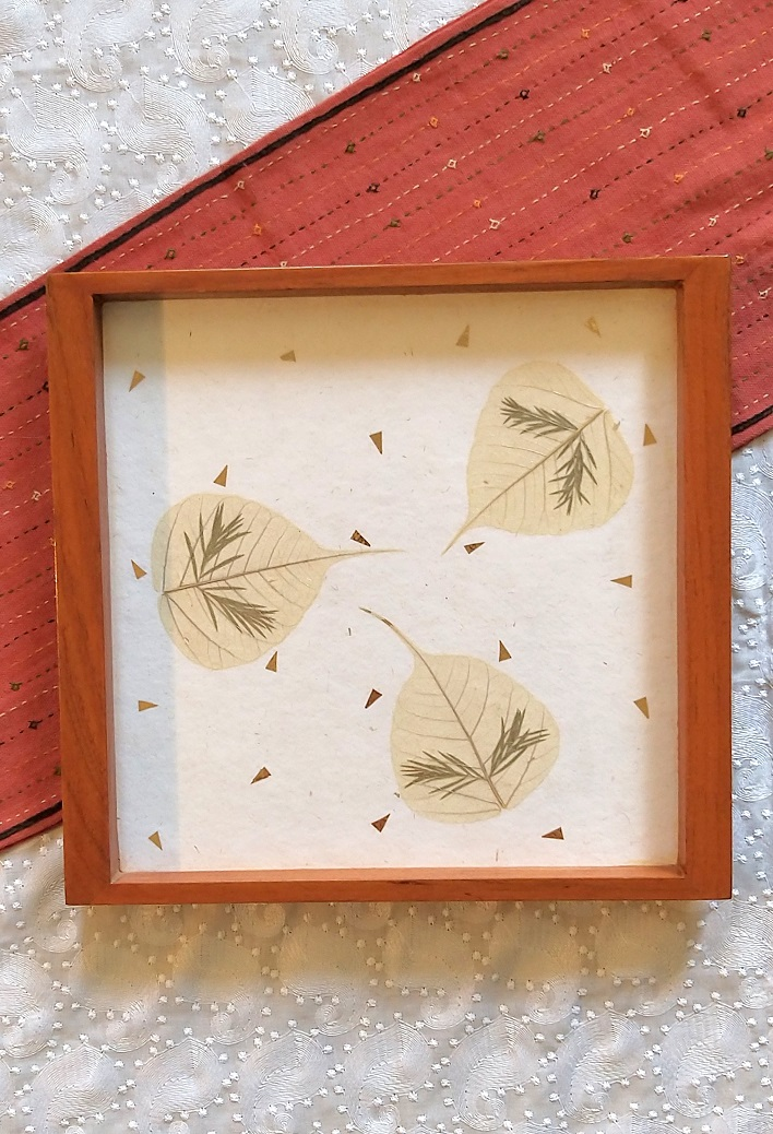 Misty Peepal White Wood and Handpressed Leaves Tray