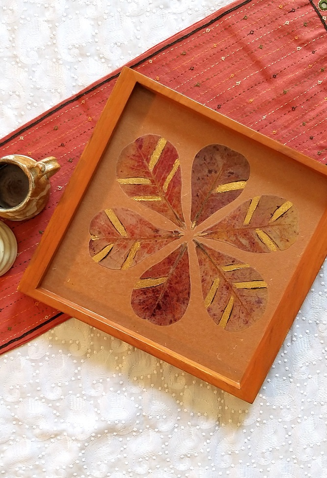 Brown Almond Leaf Wood and Handpressed Leaves Tray