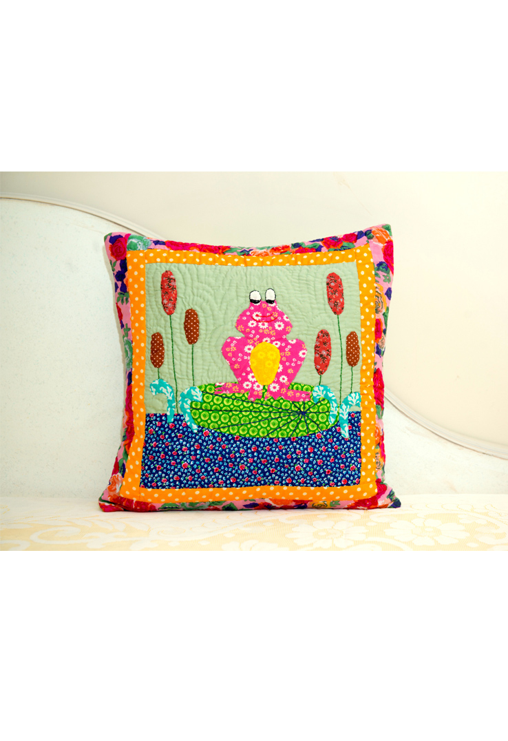 Toad Multicolour Applique Cushion Cover 16 inch square