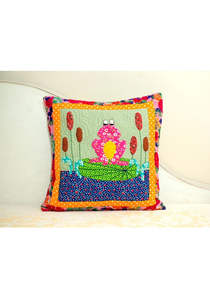 Applique Multicolour Frog Cushion Cover