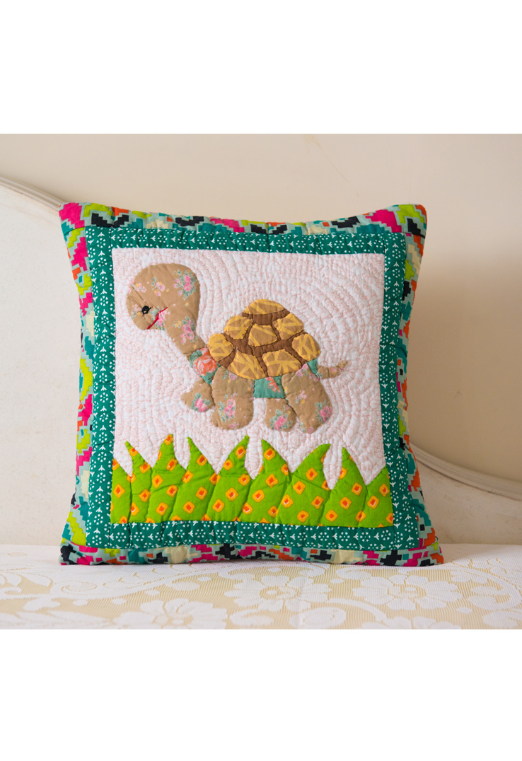 Turtle Multicolour Applique Cushion Cover  16 inch square