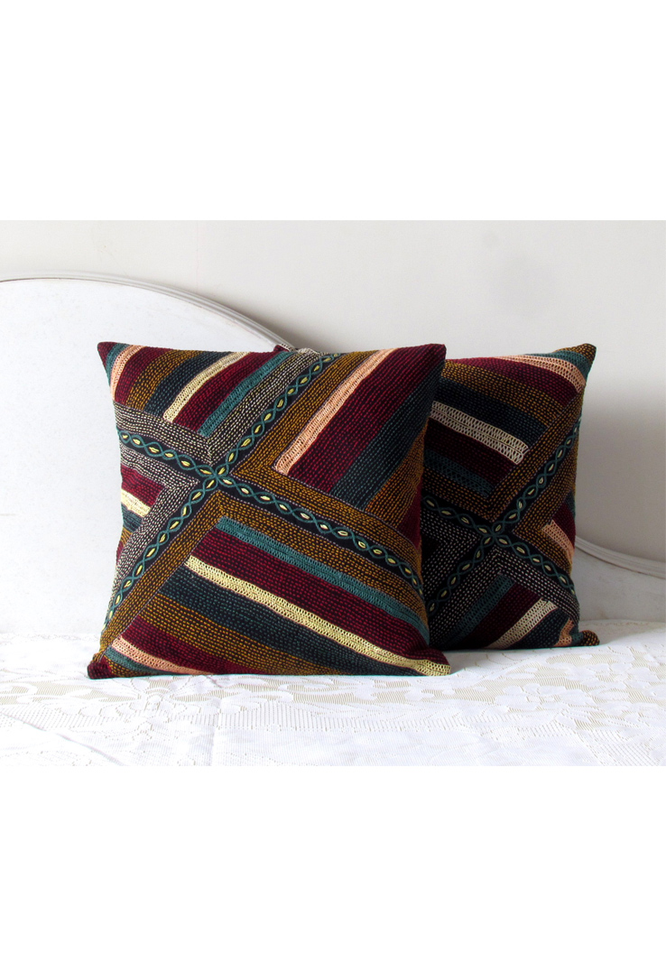 Black Tribal Hand Embroidered Striped Square Cushion Covers - Set of 2