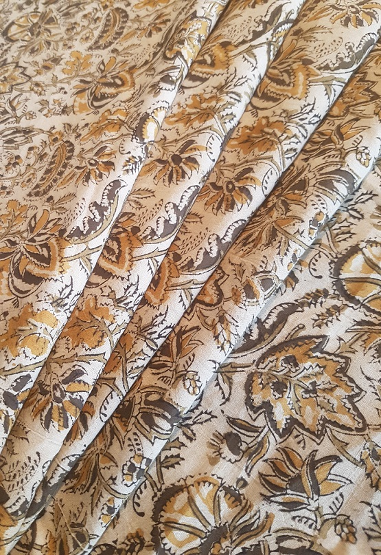 Beige and Brown Floral Kalamkari Blockprints in Natural Dyes and Cottons