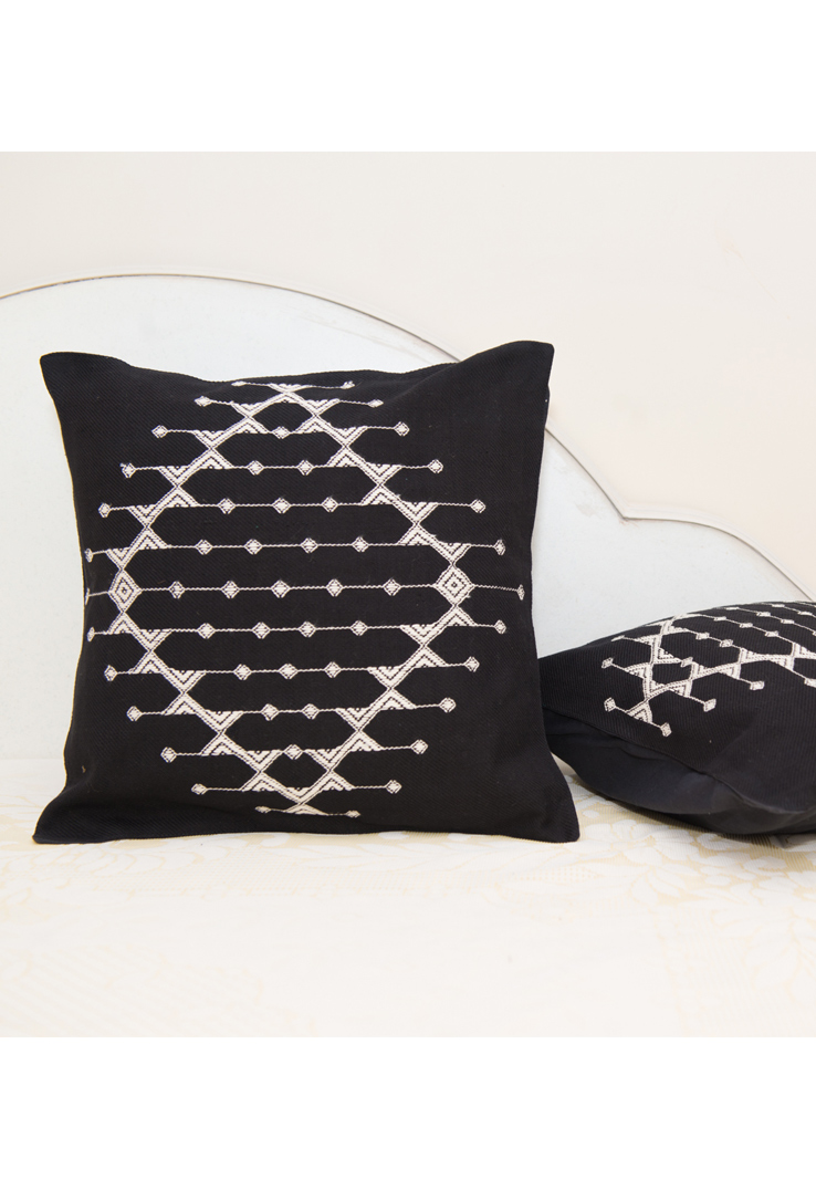 Black and White Kutch Weave Cushion Covers - Set of 2