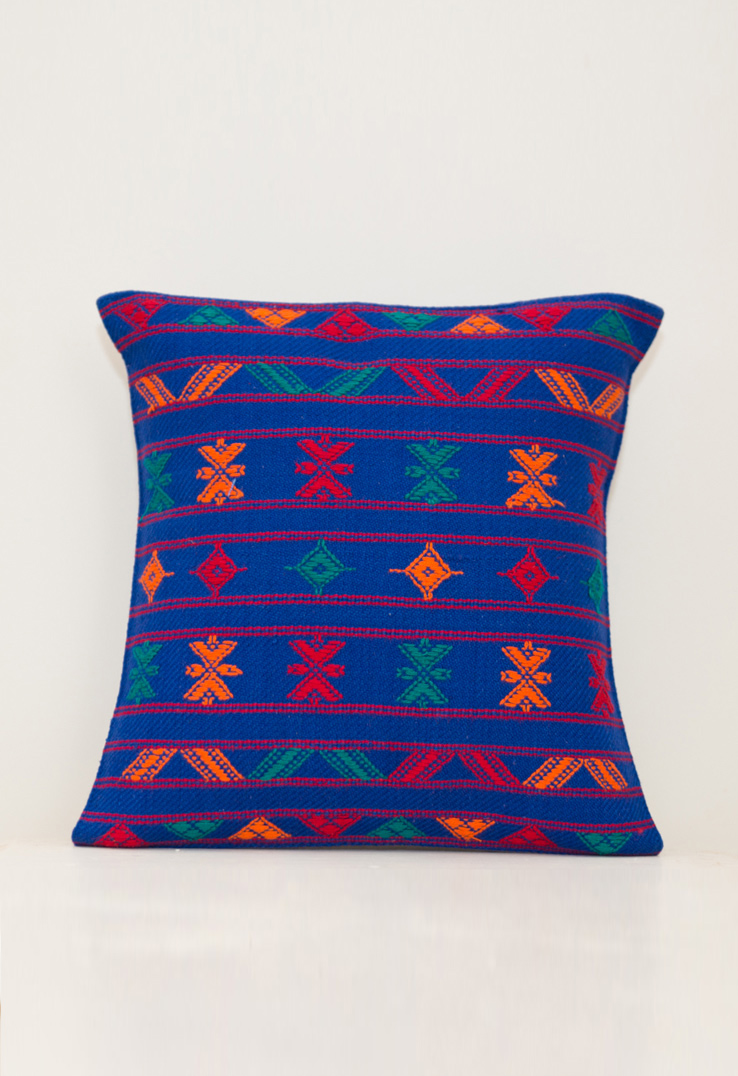 Kutch Weave Throw Pillows Blue