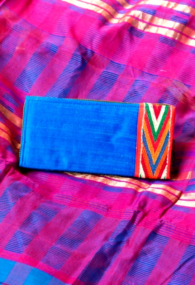 Blue Banjara Hand Embroidered Raw Silk Box Clutch