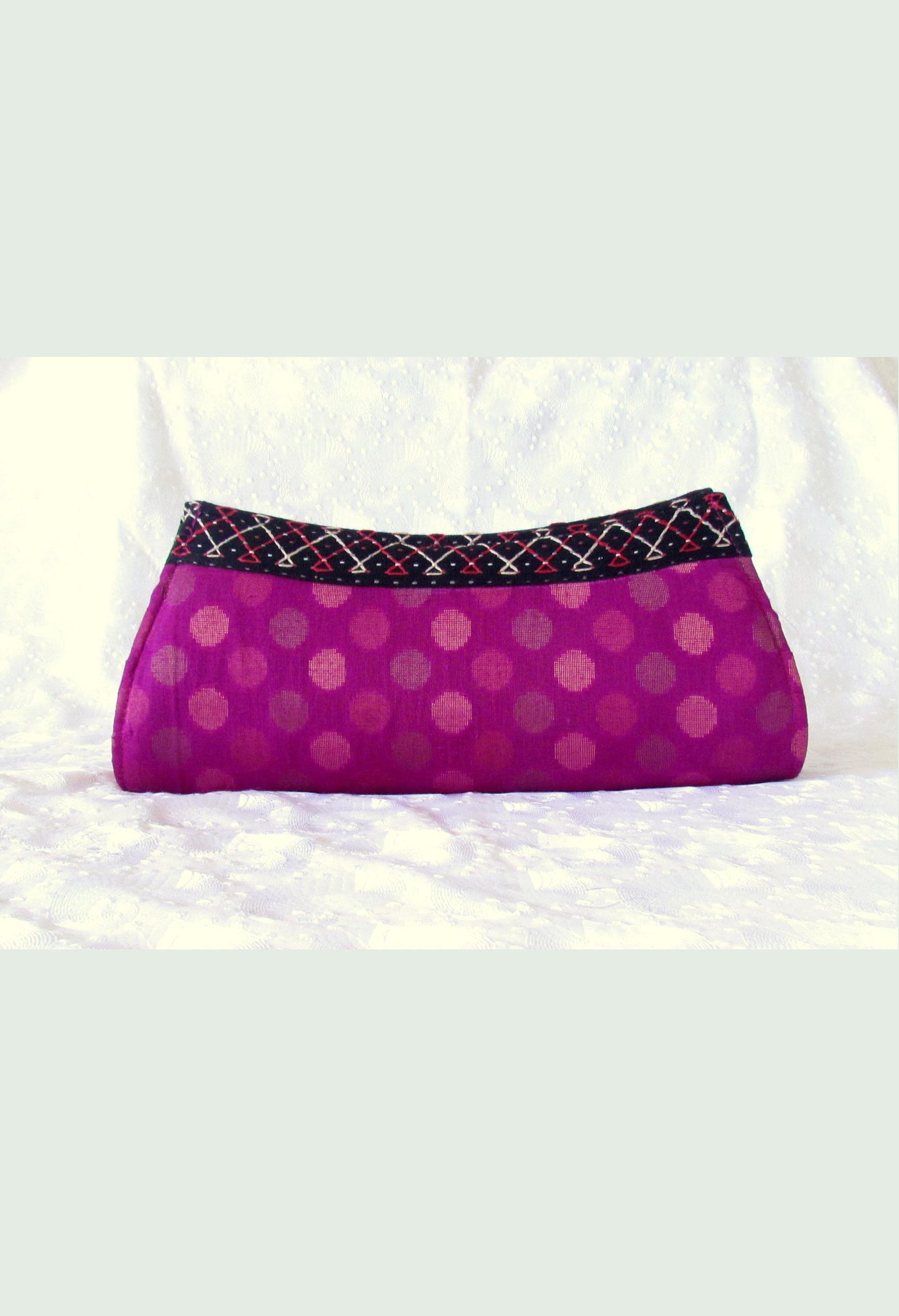 Banjara Embroidered Purple Silk Clutch