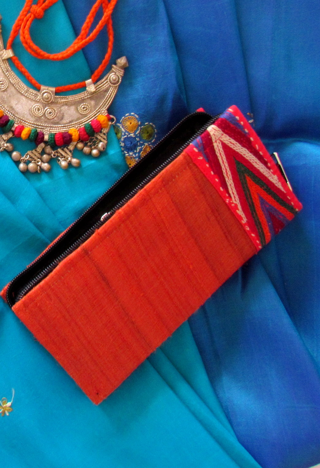 Red Banjara Hand Embroidered Raw Silk Box Clutch