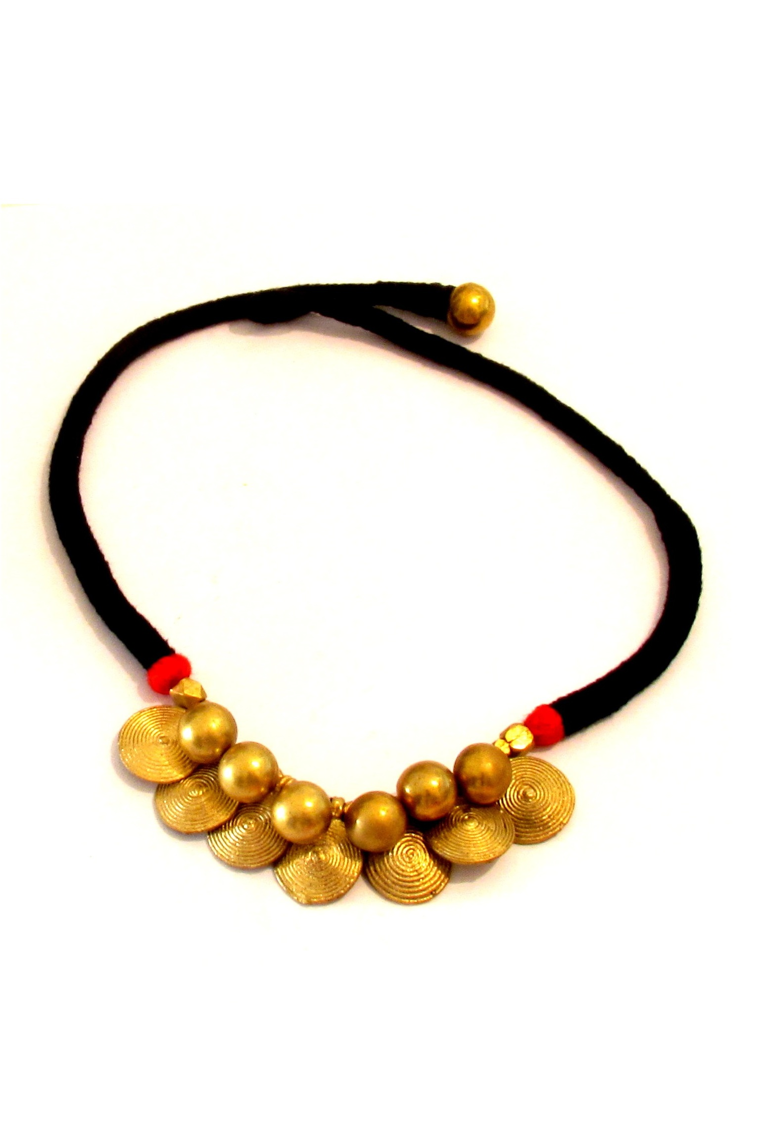 Black and Gold Dokra Beaded Choker