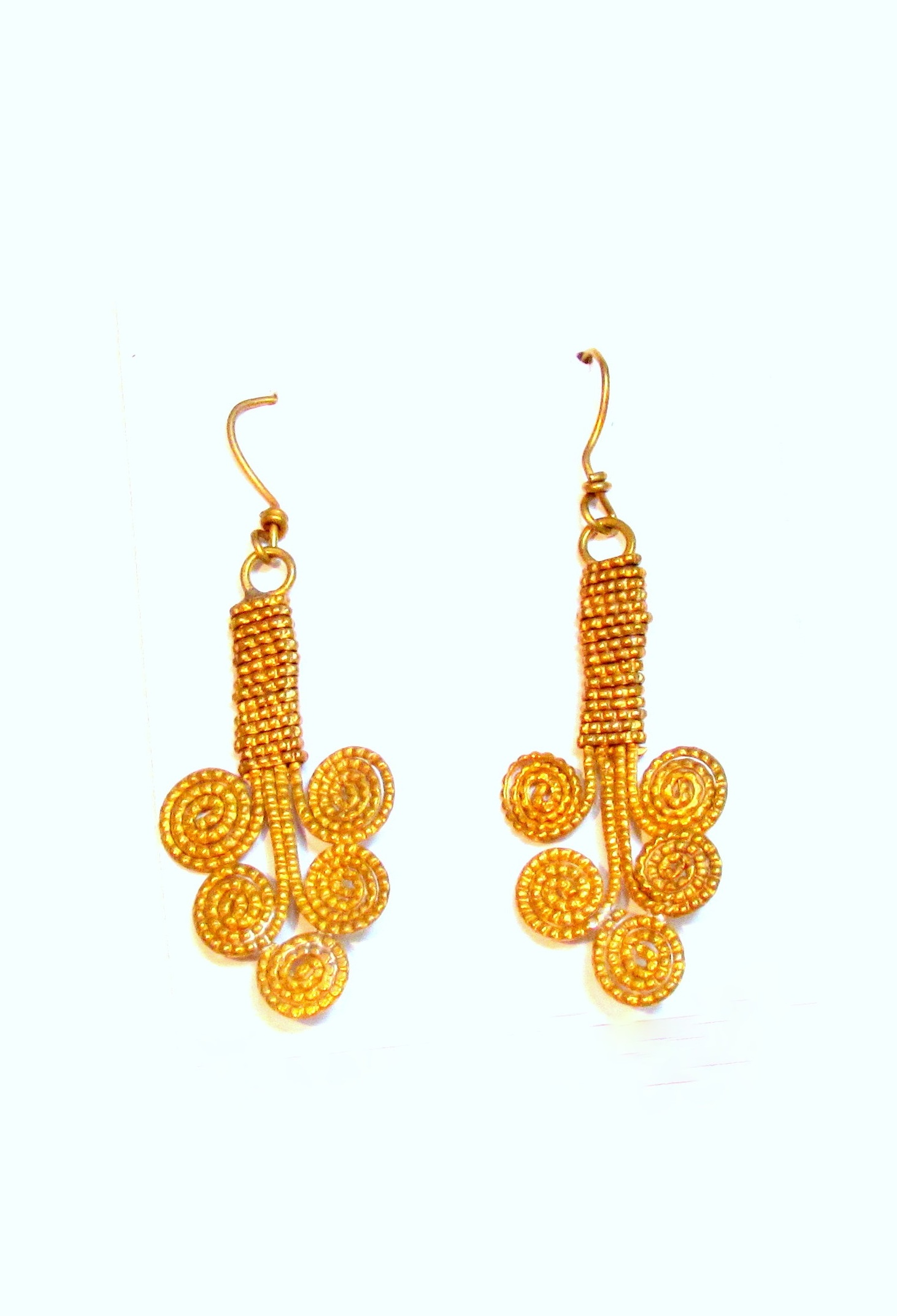 Coiled Gold Dokra Earrings