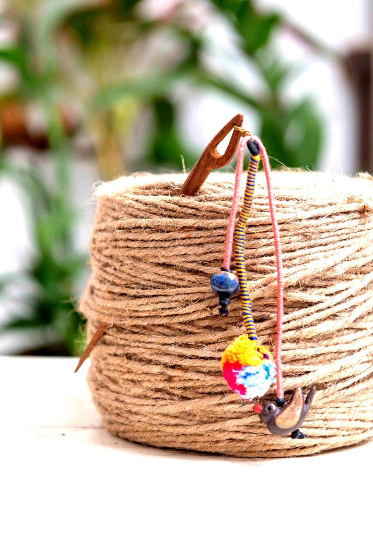 Little Myna Ceramic and Wood Hairpin