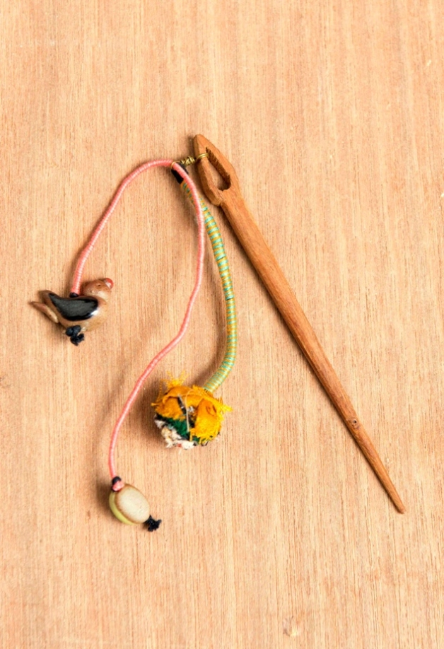 Little Sparrow Ceramic and Wood Hairpin