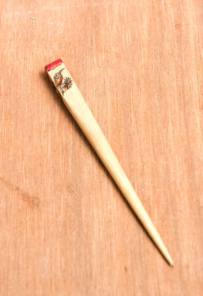 Handpainted Wood Hairpin Red
