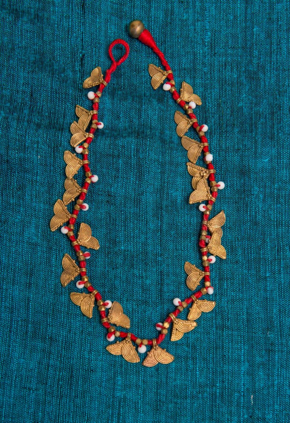 Red and Gold Leaf Dokra Neckpiece