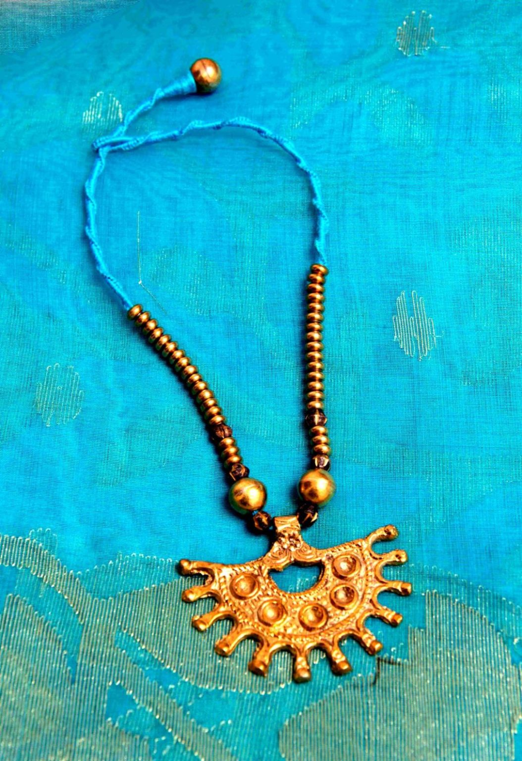 Blue and Gold ArdhChandra Dokra Neckpiece