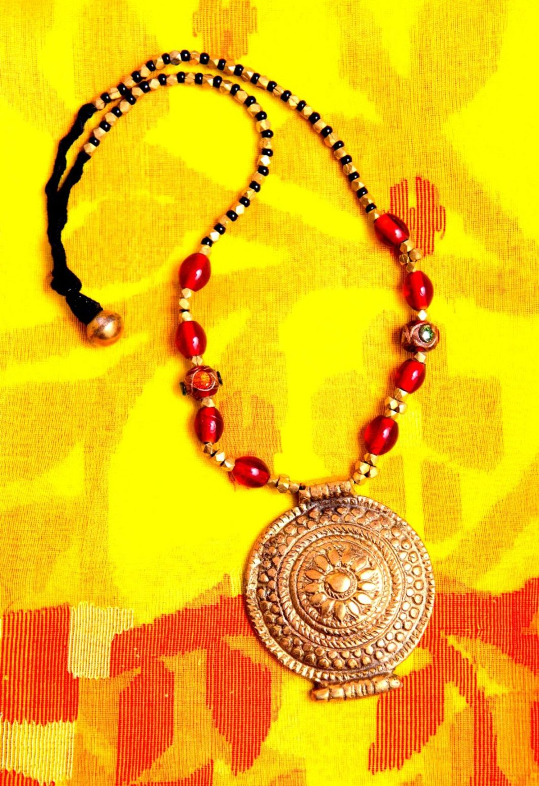 Red Beads and Dokra Neckpiece