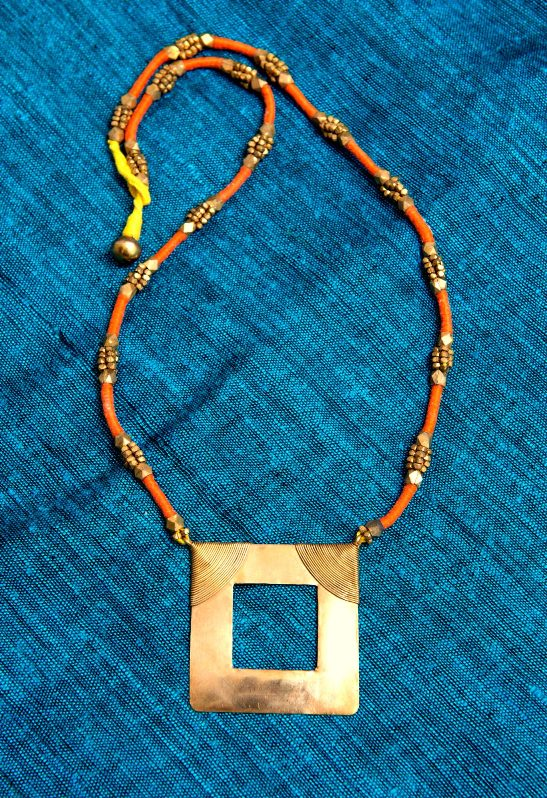 Orange and Gold Chaukon Neckpiece