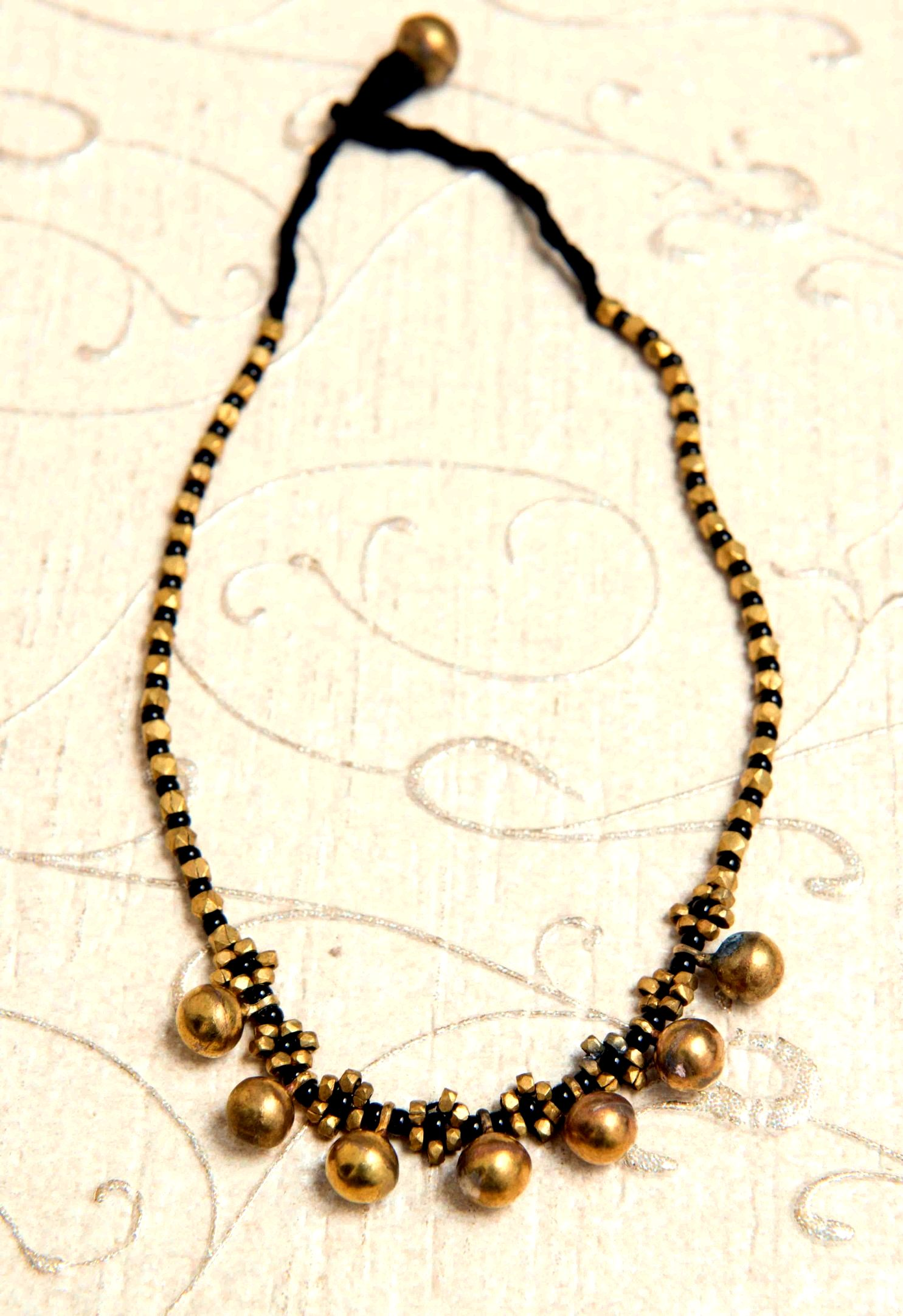 Black and Gold Beads Dhokra Neckpiece