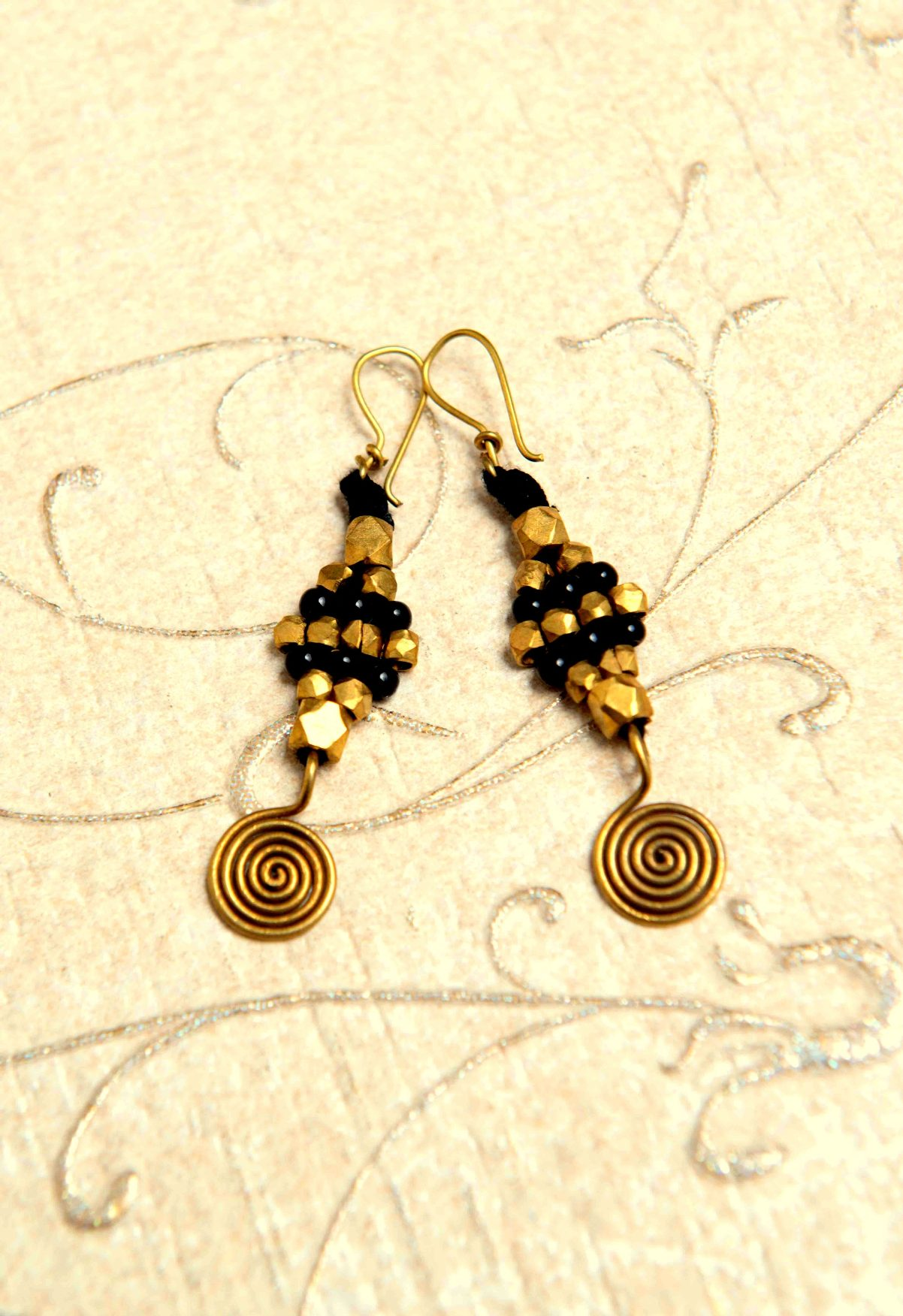 Black and Gold Beaded Dokra Earrings