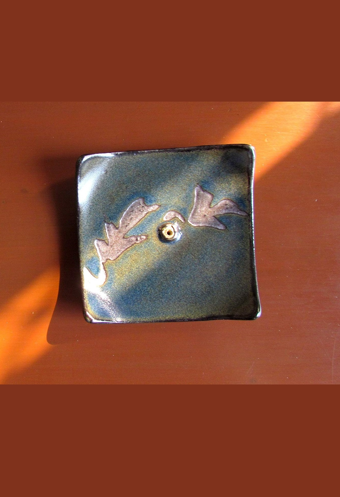 Blue Autumn Leaves Ceramic Incense Holder