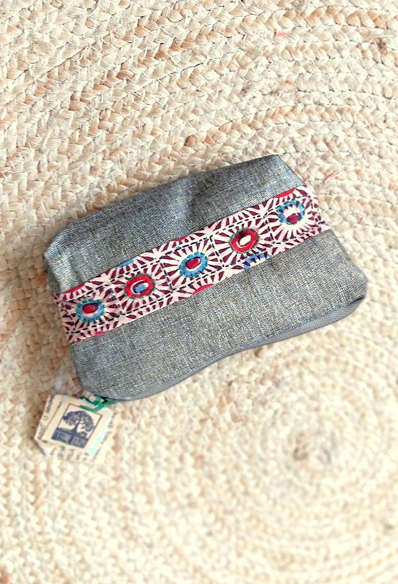 Handmade & Recycled Fabric Pouch 3