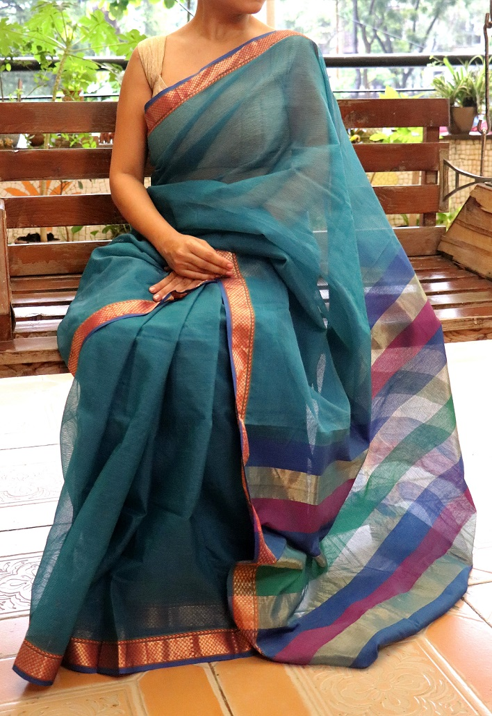 Lapis Blue Maheshwari Cotton Silk Saree