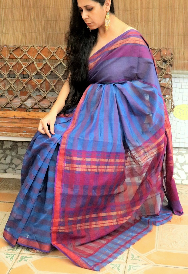 Indigo Blue and Dark Pink Cotton Maheshwari Silk Saree