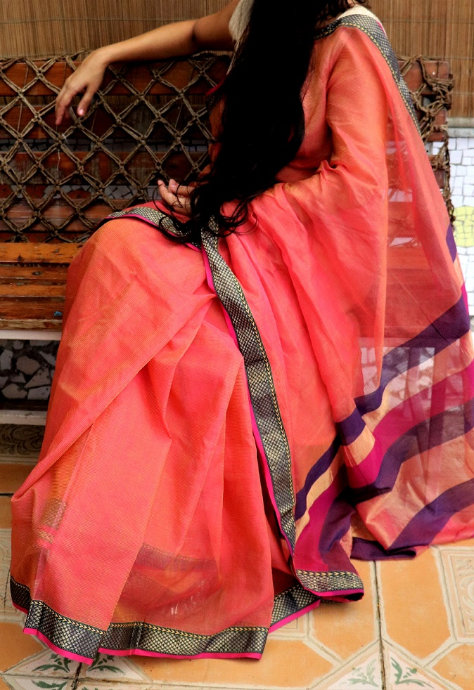 Pomegranate Pink Maheshwari Silk Saree
