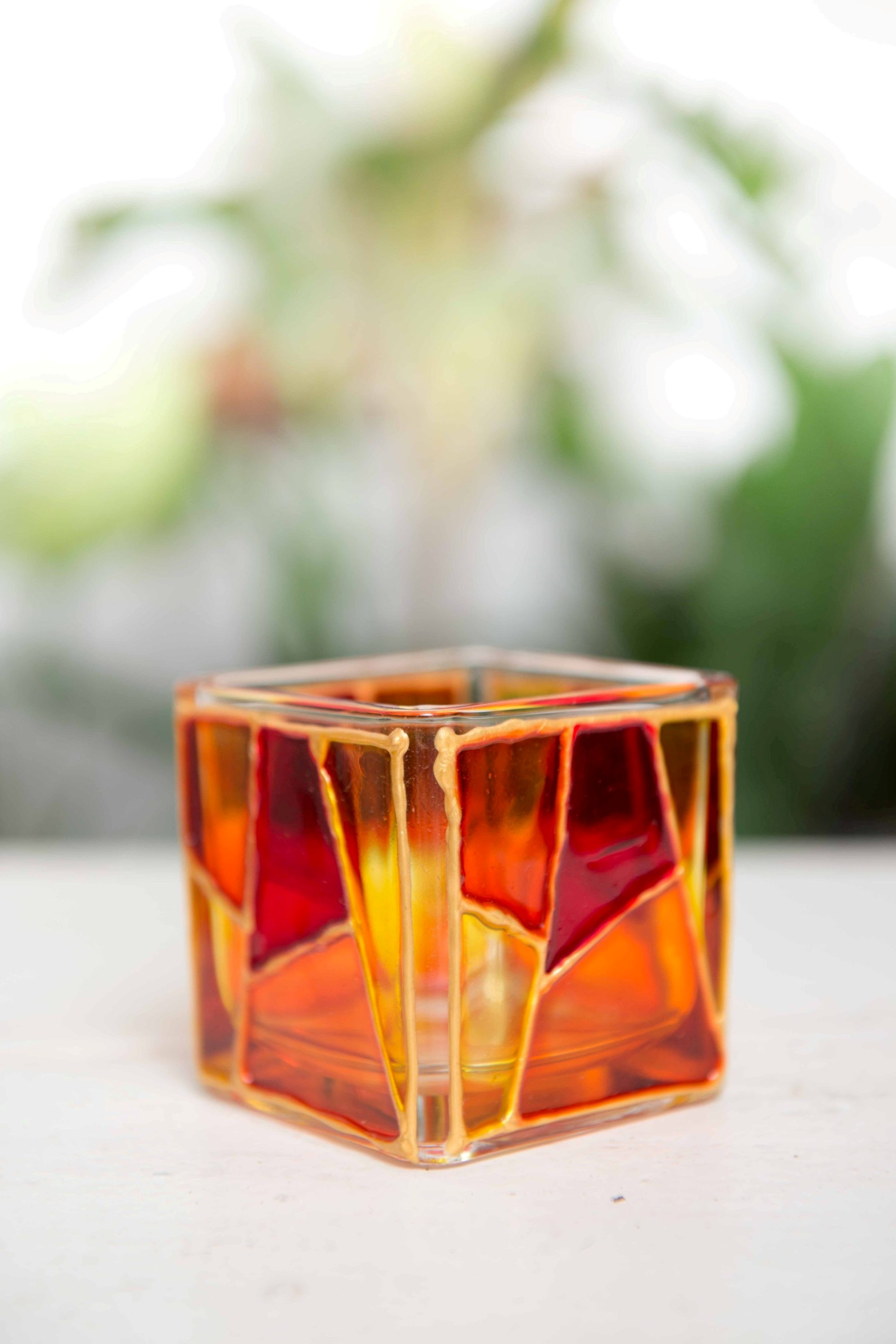 Red and Gold Tealight Holder - set of 2