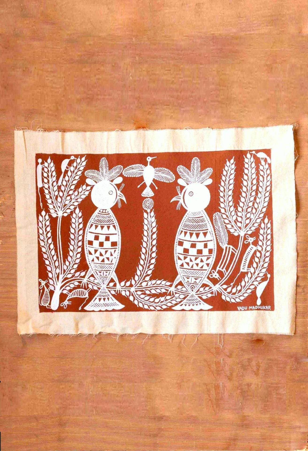 A Duet of Owls Warli Art