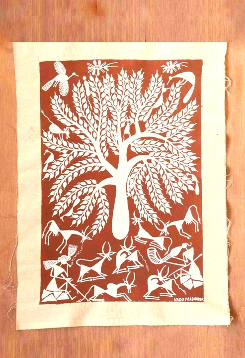 Resting Cattle in Warli Art