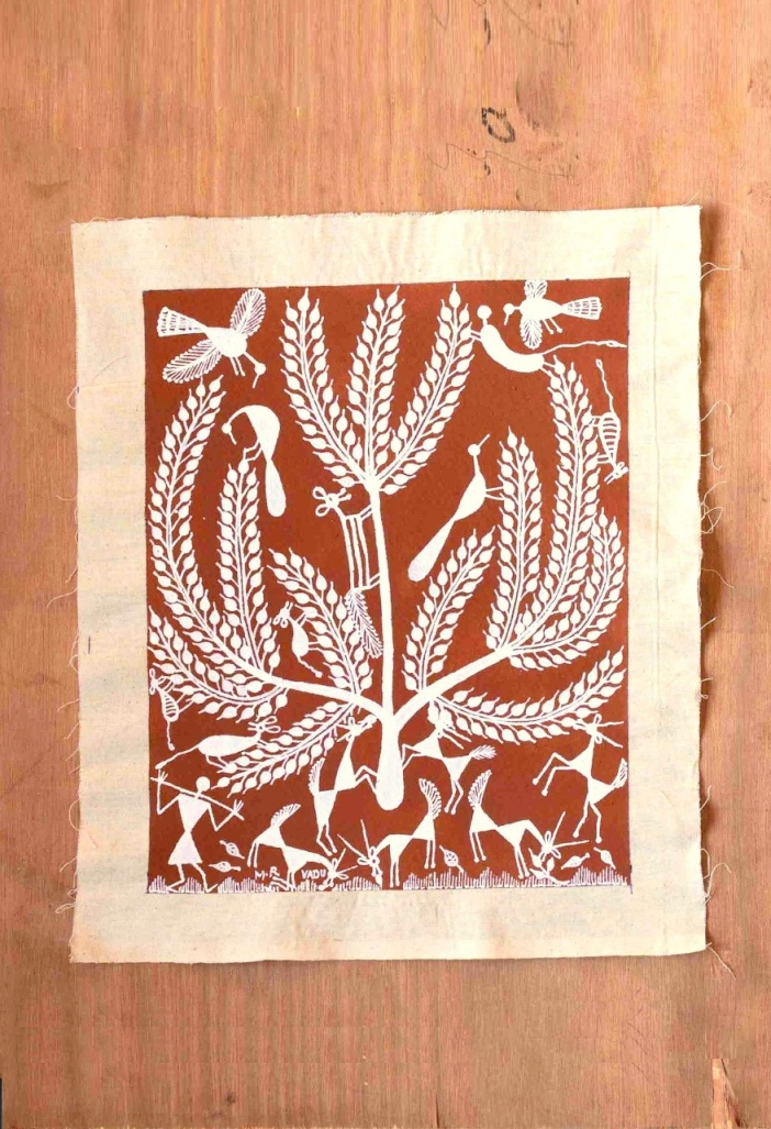 Cattle Grazing Warli Art