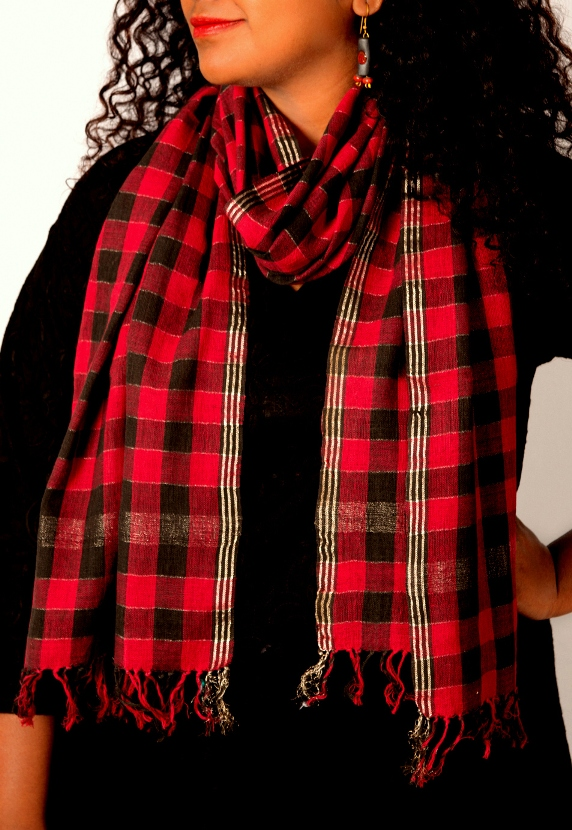 Black and Red Chequered Handspun Stole