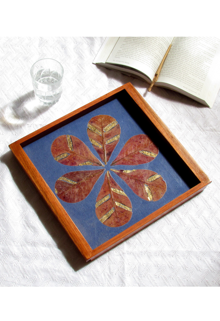 Blue Almond Leaf and Handpressed Leaves Wood Tray